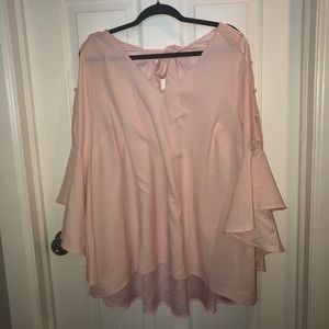 pink bell sleeved shirt